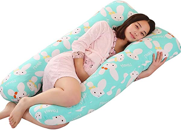 U Shaped Pregnancy Pillow Maternity Belly Contoured Body Pillow For Growing Tummy Support For Side Sleeping And Back Pain Relief With 100 Cotton Zipper Removable 31 X55in Green