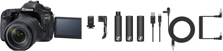 Canon EOS 80D 24.2MP Digital SLR Camera (Black) + Sennheiser XSW-D Portable Digital Camera-Mount Wireless Microphone System (XSW-D Portable ENG Set)