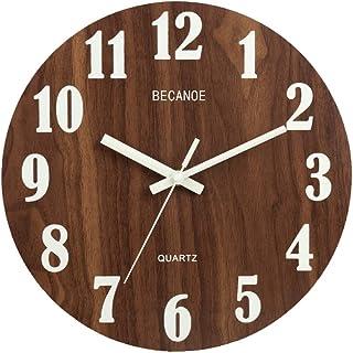 BECANOE 壁掛け時計 木製 サイレント 連続秒針 夜光 大文字 アナログ クロック 掛け時計 インテリア