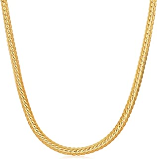 WINNICACA 24K Gold Plated Italy Chain Necklace for Mens Cuban Snake Chain Necklace for Womens Mens Girls 18''-28inch,3mm-6mm Wide,Christmas Friendship Gifts
