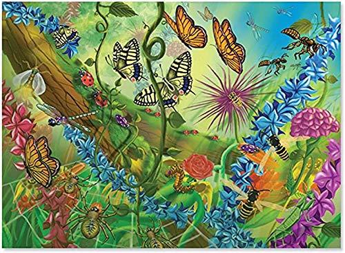 HOMOPK Puzzle Adultos Rompecabezas 1000 Piezas Jigsaw Puzzles for Adults - World of Butterfly Bugs Jigsaw Animal Jigsaw Puzzles-75cm*50cm