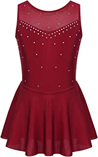 JEATHA Kids Girls Rhinestone Sleeveless Mesh Splice Ruffles Dress Figure Roller Skating Skirt Ballet Ballroom Dancewear
