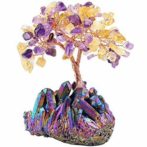 mookaitedecor Citrine & Amethyst Crystal Tree, Quartz Cluster Rainbow Titanium Crystals Base Bonsai Money Tree for Wealth and Luck