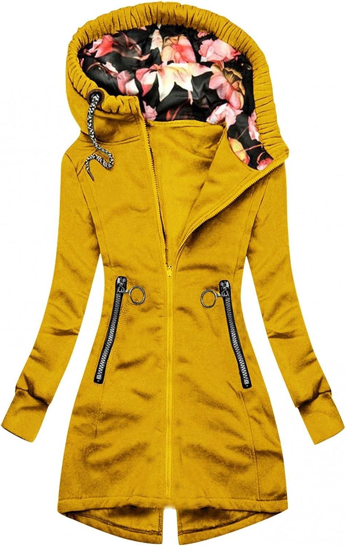 FABIURT Sweatshirt for Women Zip Up,Womens Casual Floral Print Hoodie Long Sleeve Hooded Sweatshirts Pockets Jacket Coat