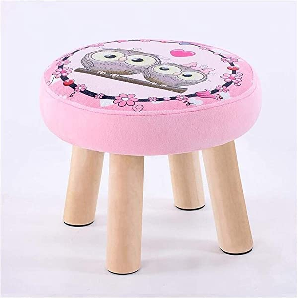 Carl Artbay Wooden Footstool Pink Animal Pattern Round Stool Small Bench Shoe Short Stool Solid Wood Fabric Home
