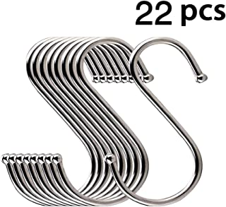 Hooks, LOYMR 22 Pack Multipurpose Premium Round Heavy Duty S Shaped Hooks Ldeal for hanging Pots and Pans, Plants, Utensils,Cup,Towels etc