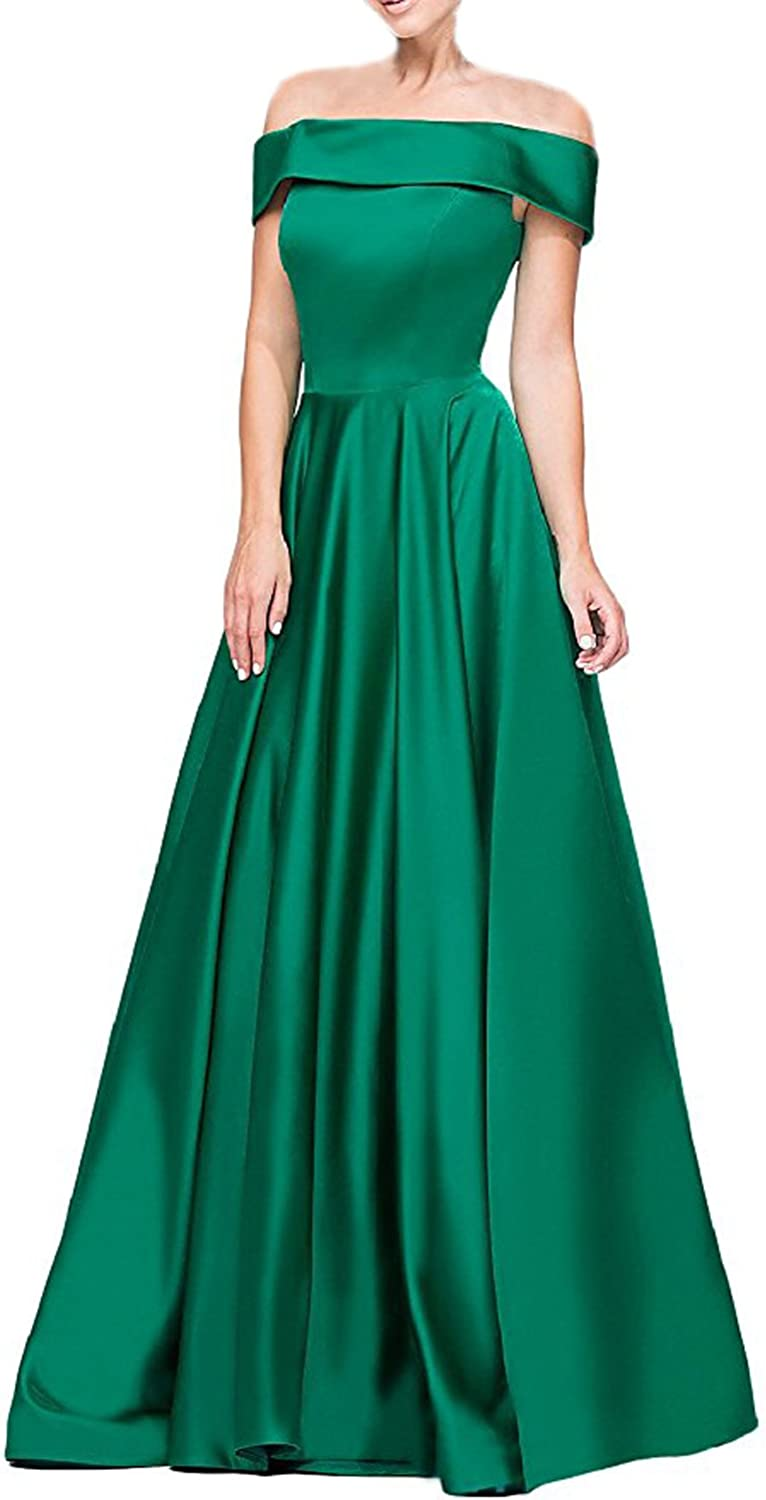 CIRCLEWLD Off The Shoulder Satin Bridesmaid Dresses with Pocket Long Evening Gowns Plus Size E64A