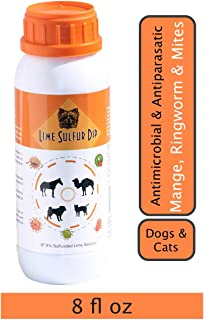 Classic's Lime Sulfur Dip - Pet Care and Veterinary Treatment Against Ringworm, Mange, Lice, Flea, Itchy and Dry Skin - Safe Solution for Dog, Cat, Puppy, Kitten, Camels, Horses (8 oz)