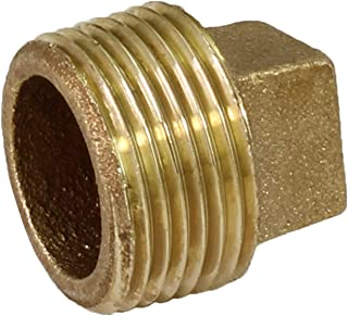 Everflow BRPL0100-NL 1-Inch Male National Pipe Taper Threads Brass Cored Plug with Square Head, Lead Free Brass Pipe Fitting, Higher Corrosion Resistance, Economical & Easy to Install