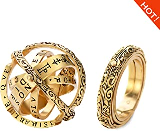 RONGYE Folds Out Astronomical Sphere Ball Couple Ring Faded Effect Retro Germany Astronomical Ring Silver Copper Lover Jewelry Gifts