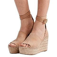 f6fa8432a29f0 Khaki platform peep toe wedge - Casual Women's Shoes