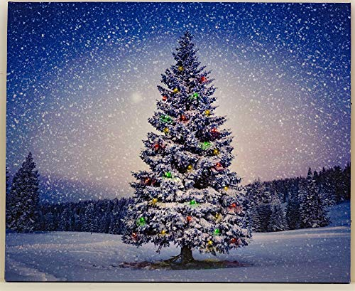 Oak Street Winter Christmas Tree LED Art 17'x14' Canvas Light up Picture 6 Hour Timer