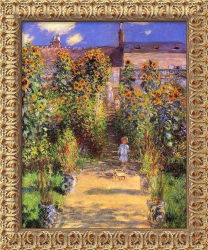 Framed Canvas Wall Art Print The Artist's Garden at Vetheuil, 1880 by Claude Monet