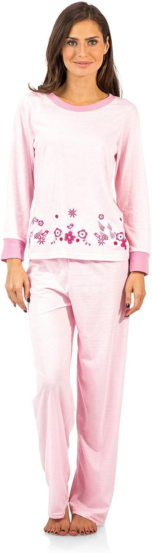 Casual Nights Women's Crew Top Long Sleeve Pajama Set
