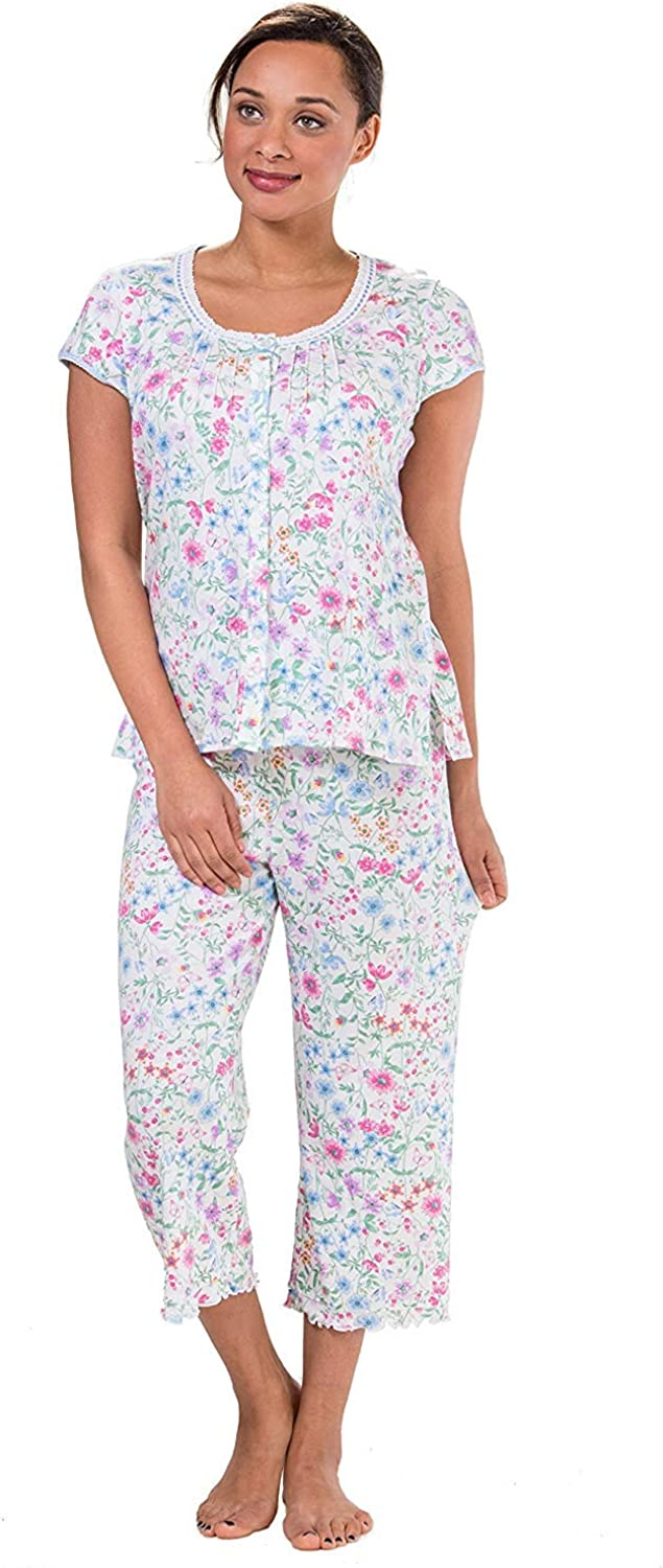 NWT Miss Elaine LARGE Summer Cotton Knit L//S Pajama Set PJs Blue White Print L