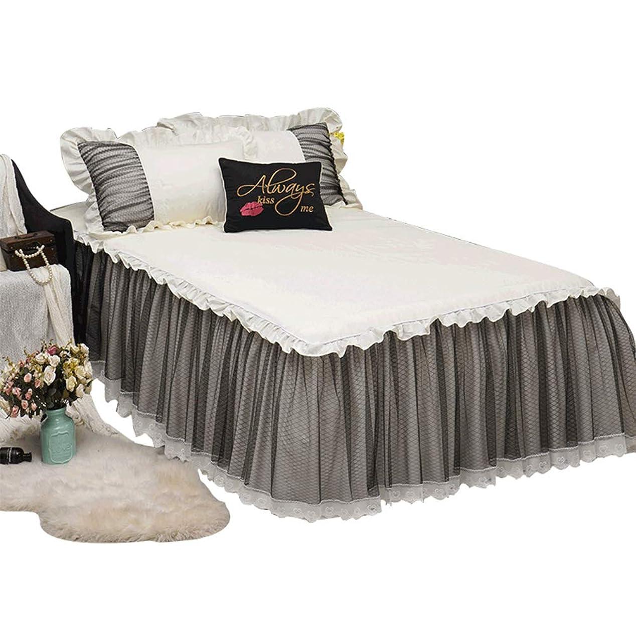 登場有罪データムプリンセスレースマットレスカバーロマンチックな寝室の装飾ロマンチックなバランスベッドスカートエクストラディープフリルプルーフベッドスカート,60