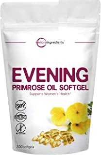 Evening Primrose Oil Softgels, 1300mg, 300 Counts, Evening Primrose Cold Pressed Oil Supplement, Helping Maintain Healthy ...
