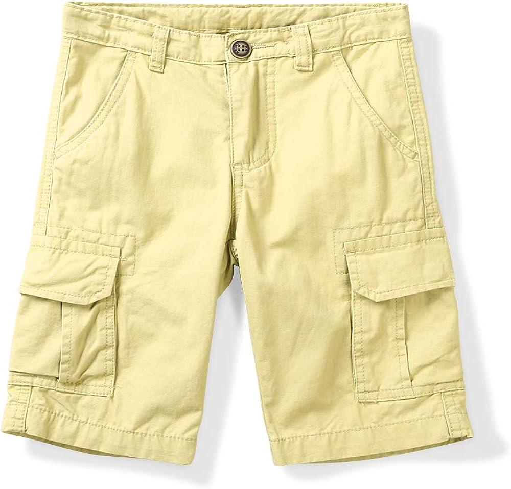 Boys' Classic Cotton Elastic Waistband Multi-Pockets Pull On Cargo Shorts 1 Khaki Tag 180CM-13-14 Years
