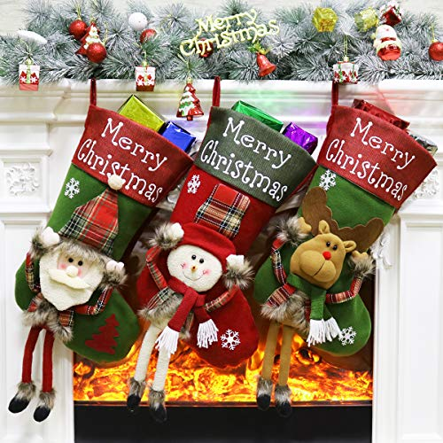 Aitey Christmas Stocking, 18 Big Stockings Set of 3 Xmas Character Santa, Snowman, Reindeer 3D Plush Christmas Home Decorations and Party Accessory for Kids (Long Leg)