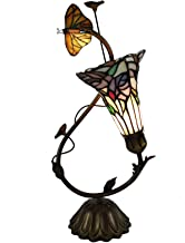 Bieye L10623 Butterfly Lily Flower Tiffany Style Stained Glass Accent Table Lamp Night Light for Living Room Bedroom Bedside, 17 Inch Tall