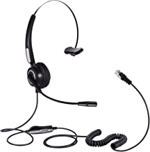 Hands-Free Corded Headset, SoulBay Call Center RJ9 Monaural Telephone Headset with 4-Pin Crystal Head Noise Cancelling Mic for Desk Phone Telephone, Suits Phone Sales, Banks and Telecom Operator