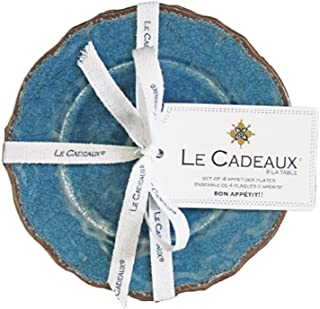 Le Cadeaux 097ATQB Appetizer Plate Set of 4 Antiqua Blue, 6 inches,