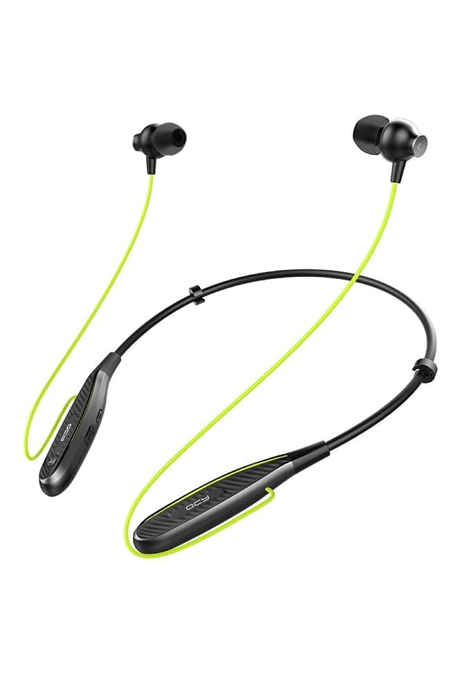 関税遺棄された除外するQCY QY25 Bluetooth イヤホン ワイヤレス ネックバンド型 マグネット カナル 高音質 重低音 IPX5 防水 リモコン マイク付き 両耳 ブラック QCY-QY25BK