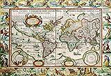 Vintage mapa del mundo suministros de oficina cartel antiguo detallado gráfico de pared Retro Canavas impresiones carteles decoración del hogar-50x70 CM sin marco