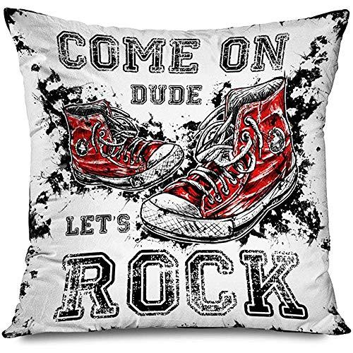 Mackinto Funda de Almohada Cuadrado Decorativo 18x18 Chica roja Zapatillas urbanas Antiguas Rock Diseño gráfico Belleza Estrella Punk Par Deporte Zapato Vintage Todo Dibujado