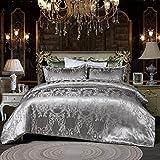 Ropa de cama plateada 135 x 200 cm, satén y seda, juego funda nórdica gris, 2 piezas, reversible microfibra dos jacquard, estampado floral, bordado, ropa individual con cierre cremallera