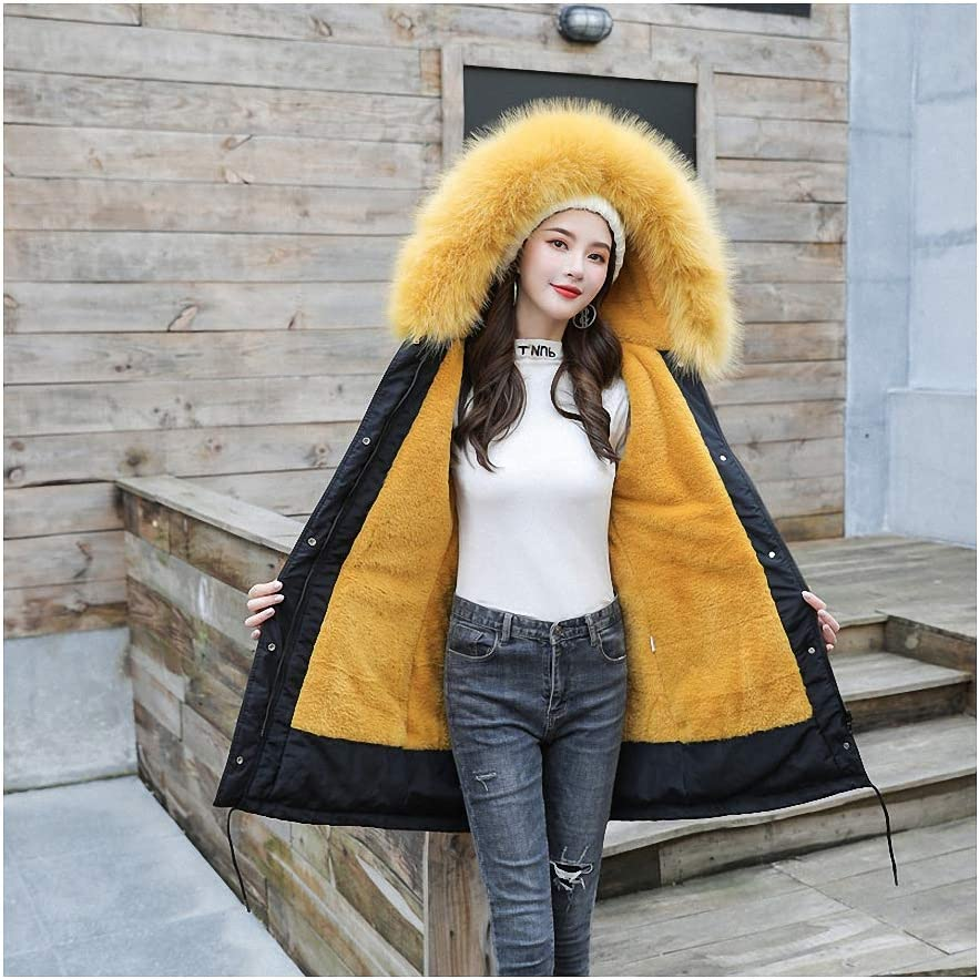 Thick Warm Jacket Women Coat with Fur Lining Plus Hooded Female Long Coat Parkas Wear Yellow XXL