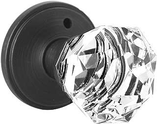 Diamond Crystal Door Knobs- Privacy- Oil Rubbed Bronze- Bed/Bath Function,2 Pack Glass Doorknobs Interior with Lock Modern,Crystal Glass Door Handle Lock Set,VenetianBronze,Keyless Door Lock