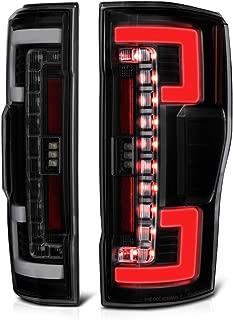VIPMOTOZ Premium OLED Tube Black Housing Smoke Lens LED Tail Light Lamp Assembly For 2017-2019 Ford Superduty F-250 F-350 Pickup Truck, Driver & Passenger Side