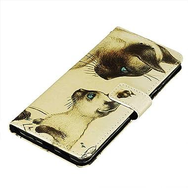 WiseSwim Leather Flip Case Fit for Samsung Galaxy A70S, cat Wallet Cover for Samsung Galaxy A70S