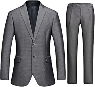 Anguang Men's Single Breasted Tweed Jackets Checked Designs Blazer