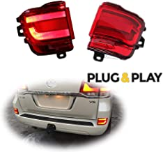 Plug and Play 3D Optic Red LED Rear Bumper Reflectors Rear Fog Light Lamps Kit for 2016 2017 2018 2019 TOYOTA Land Cruiser LC200