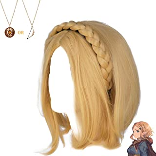 Princess Zelda Wig Short Hair Braids Headband Blond Hairstyle Breath of The Wild Cosplay Costume Accessories