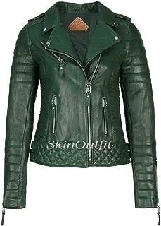 SKINOUTFIT Women's Leather Jackets Motorcycle Biker Genuine Lambskin Dark Green