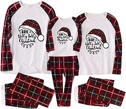 Dad Mom Kids Family Christmas Pajamas Sets Soft Cotton Santa Long Sleeve Tee and Plaid Pants Sleepwear Pjs Sets