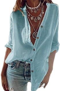 قمصان أبيكوك نسائية كاجوال من القطن الخالص بأكمام طويلة بأزرار