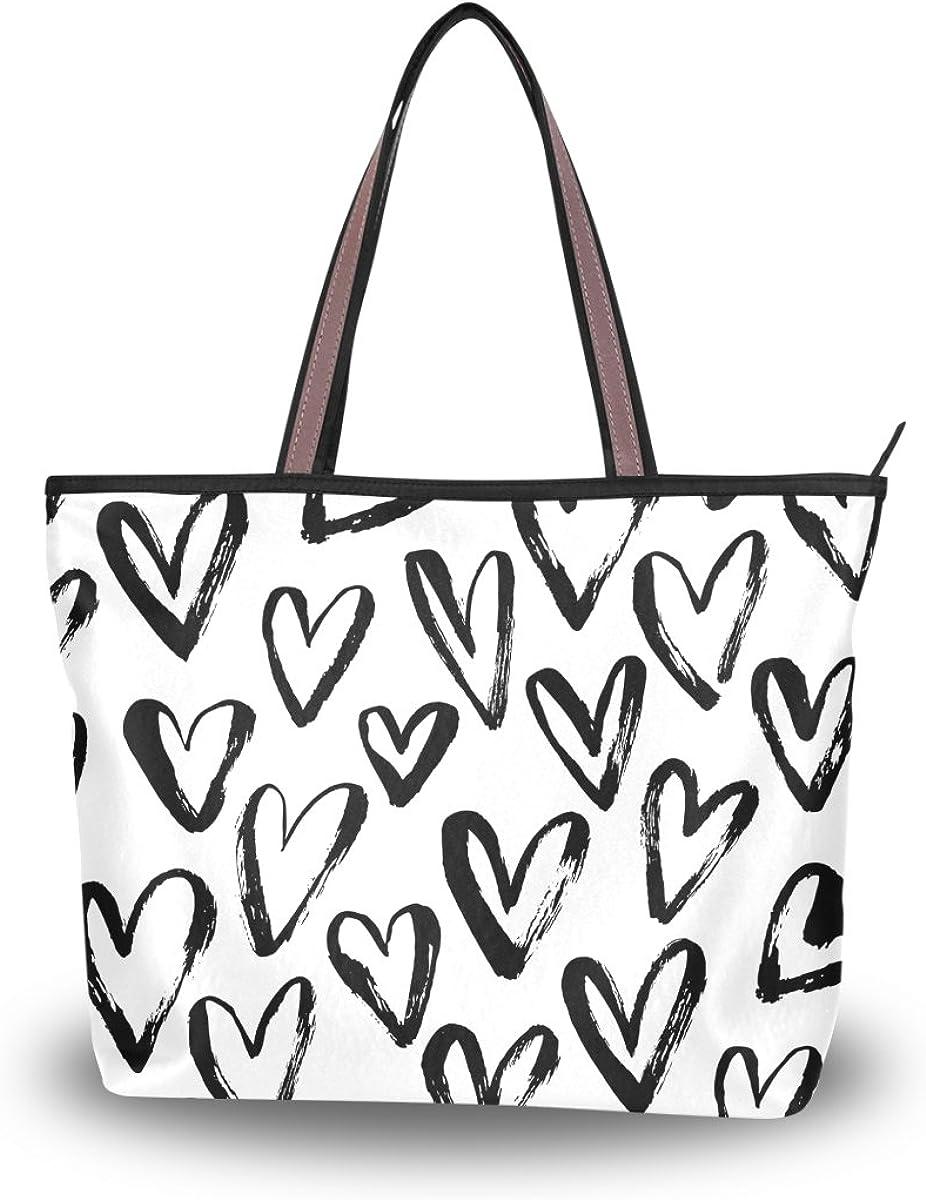 JSTEL Women Large Tote Top Handle Shoulder Bags Love Hearts Patern Ladies Handbag