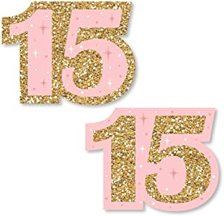 Big Dot of Happiness Mis Quince Anos - DIY Shaped Quinceanera Sweet 15 Birthday Party Cut-Outs - 24 Count