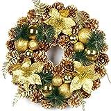 Corona de Navidad de 40 cm con diseño de Navidad con bolas de Navidad, racimos de flores, conos de pino, corona de Navidad artificial para interior y exterior