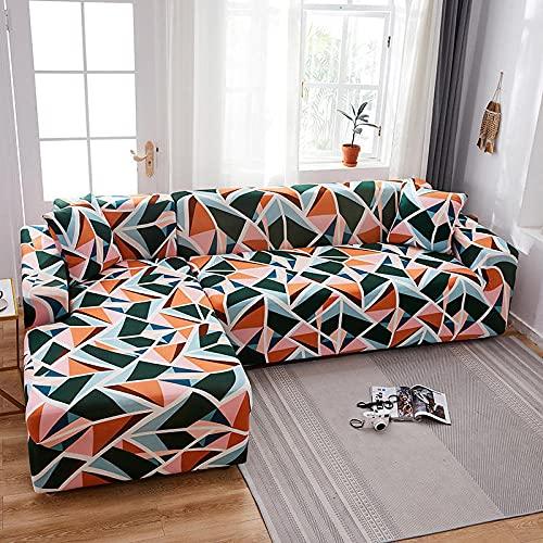 Funda De Sofá 1 Plazas Naranja Verde Fundas Sofa Elasticas Cubre Sofa Antideslizante Protector Funda para Sofá con Diseño Moderno Patrón De Triángulo Universal Funda Cubre Sofas