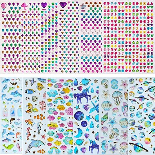 Nifogo 3D Aufkleber Sticker für Kinder & Kleinkinder 12 PCS, 1500+ Epoxy Geschwollen Stickers für Jungen Mädchen Lehrer, Liebe Heart, Wolken, Wal, Unicorn Castle, Fische, Qualle, Planet