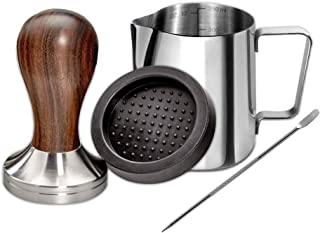 Santo Wood Espresso Tamper 58mm, Coffee Tamper with Sandalwood Handle, Incl. Free Milk Frothing Pitcher 12oz/350ml, Espres...