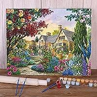 子供と大人のためのアートクラフトキャンバス絵画家の花の風景-40x50cm フレームなし Painting by Number Kits On Canvas、DIY Color Oil Painting Acrylic Paints、Home Wall Decor