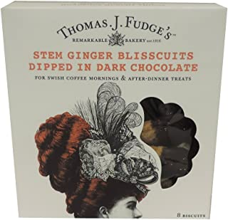 Thomas J Fudges - Stem Ginger Blisscuits Dipped in Dark Chocolate - 144g (Pack of 2)