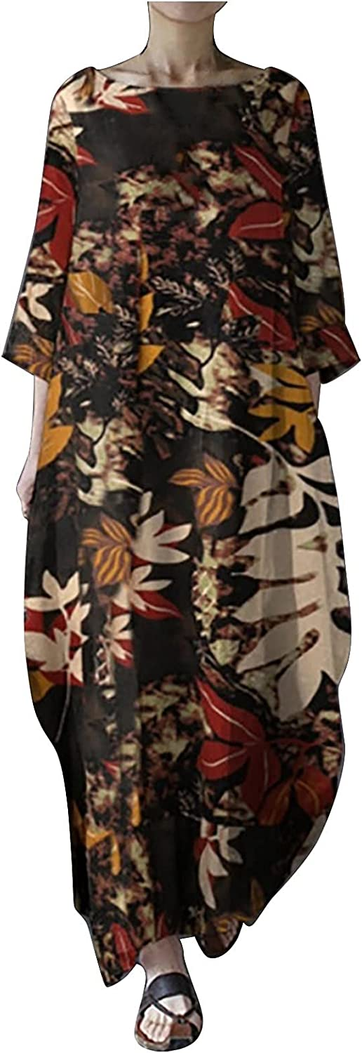 Women Casual Loose Bohemian Seven-Point Sleeve Dress with Pocket