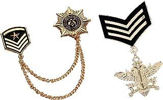 B Baosity 2 PCS Spilla Lega con Medaglia + Catena Ciondolo Stile Militare per Abbigliamento